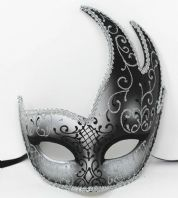 Silver and Black Wave Mask